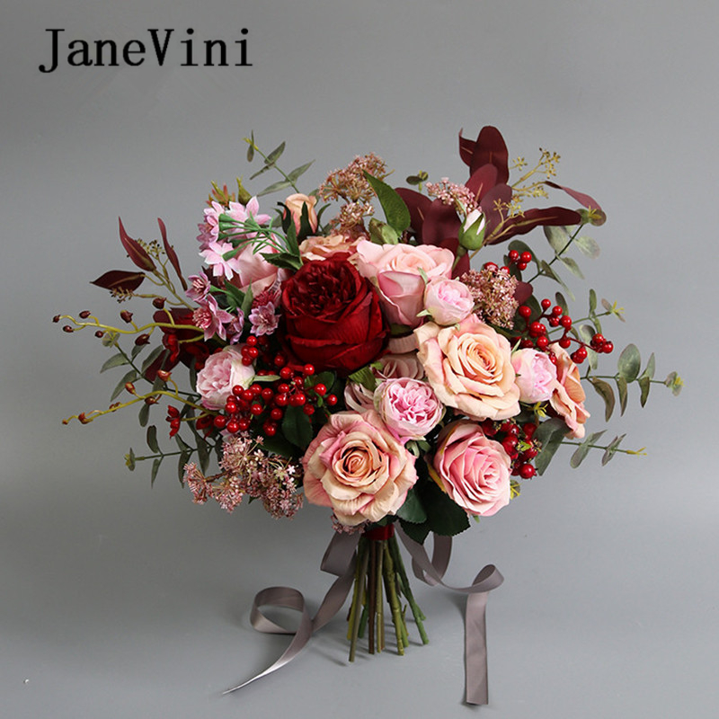 JaneVini 2020 Romantic Pink Wedding Bouquet Artificial Silk Burgundy Roses Bride Bouquet Hydrangea Flowers Wedding Accessories