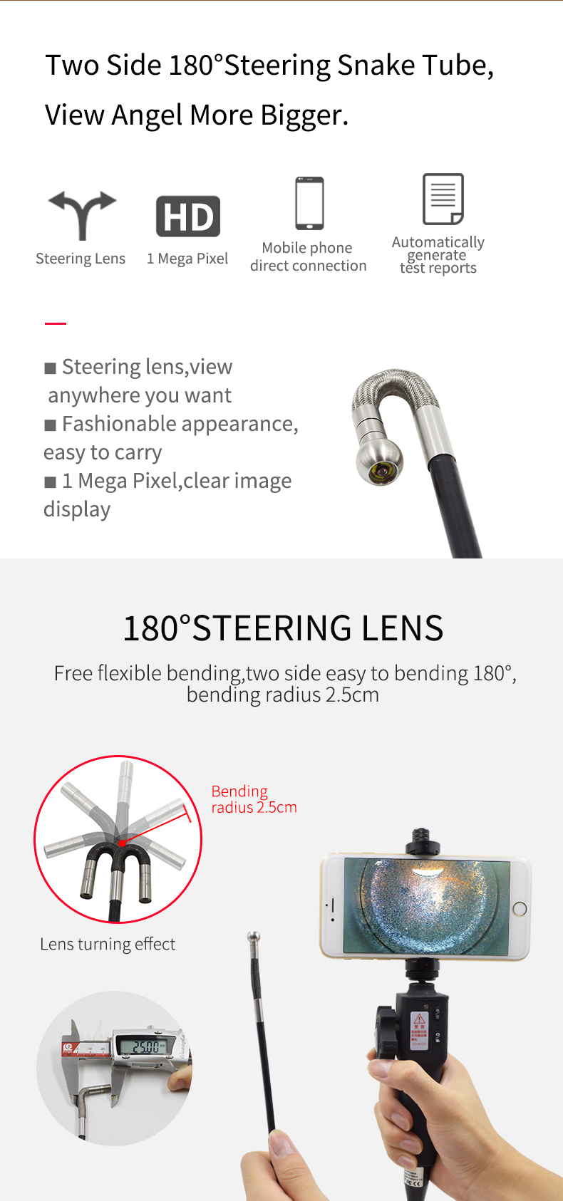 1080P IP67 Doppelobjektiv-Wireless-Inspektionskamera Wasserdichte Semi Rigid Endoskop-Schlange-Kamera f/ür Android Iphone,1m
