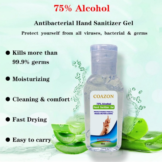 50ml 75% Quick-drying Alcohol Disposable Hand Sanitizer Hands-Free Water Disinfecting Hand Wash Gel Hot Sale 2