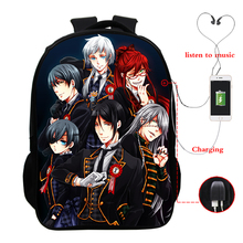 Black Butler Backpack Multifunction USB Charging Bag for Teenage Girls Daily Large Travel