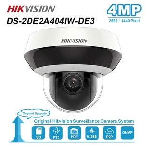Image 1 - Hikvision 4MP 2.8 12mm 4x כיפת PTZ IP המצלמה PoE אודיו SD כרטיס חריץ חיצוני עמיד טלוויזיה במעגל סגור מעקב DS 2DE2A404IW DE3