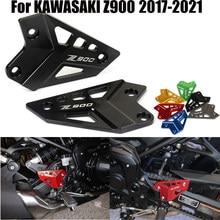 Acessórios da motocicleta footpeg apoio para os pés conjunto traseiro calcanhar placas guarda protetor para kawasaki z900 z 900 2017 2018 2019 2020 2021