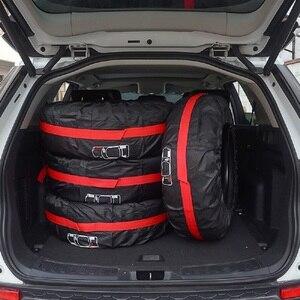 Image 2 - 4Pcs อะไหล่ยางกรณีโพลีเอสเตอร์ฤดูหนาวและฤดูร้อนยางรถเก็บกระเป๋า Auto ยางอุปกรณ์เสริมล้อรถป้องกันสีแดง