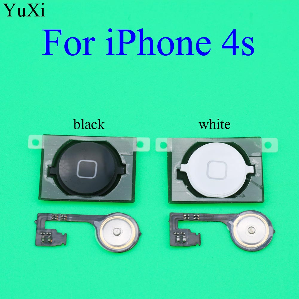 YuXi For Apple IPhone 4S Home Button Return Key Flex Cable Ribbon For IPhone 4 4S Home Button Replacement Parts Black/White