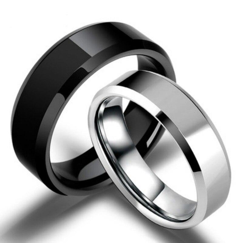 Кольца для мужчин и женщин, простые гладкие антиаллергенные обручальные кольца из титана черного золота, бижутерия, хороший подарок для муж...