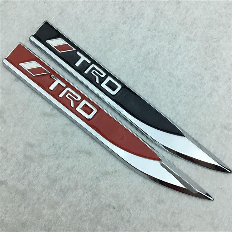 2 pièces/ensemble style de voiture 15cm * 1.9cm noir rouge alliage TRD lame emblème arrière queue Badge voitures carrosserie autocollant Logos latéraux