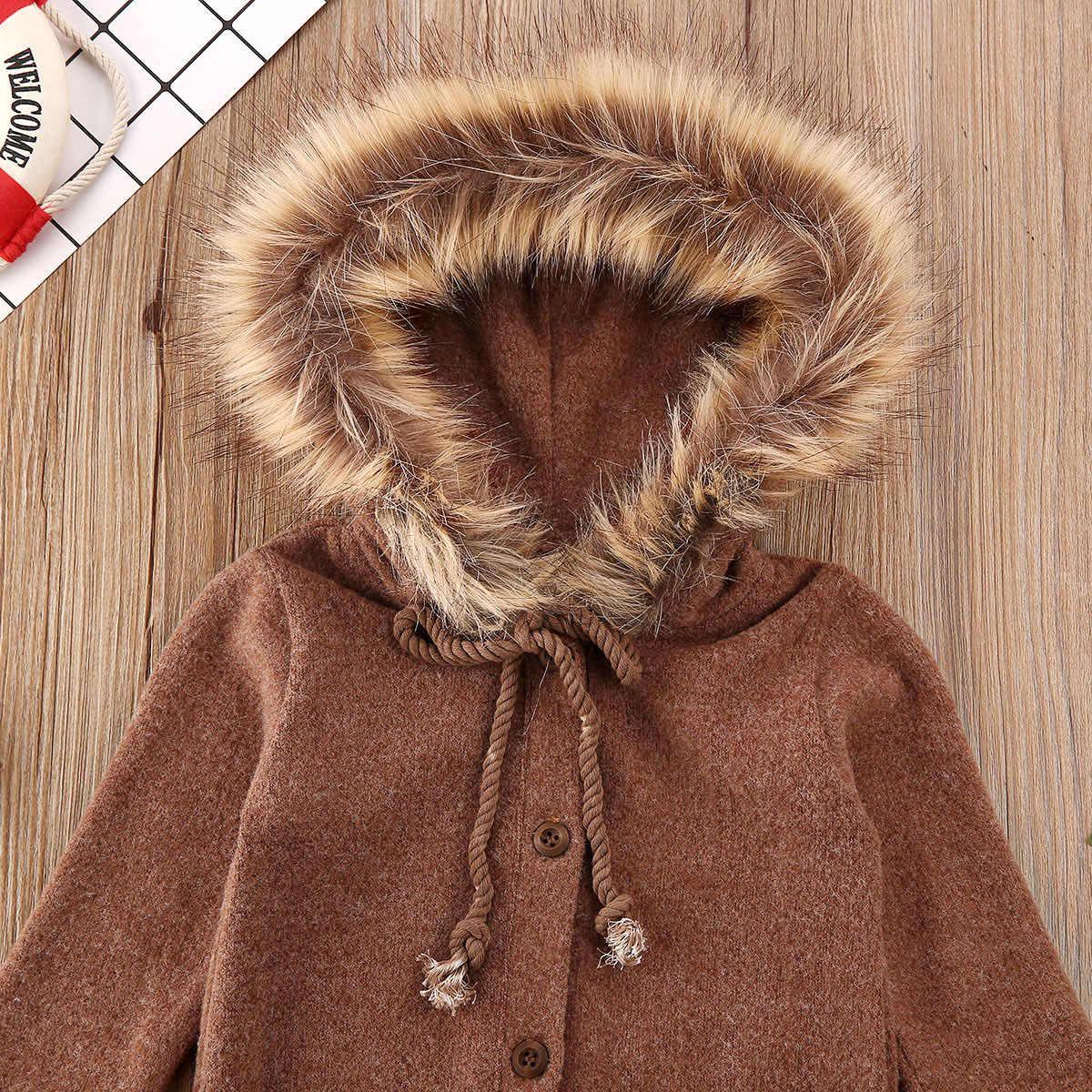 Recién Nacido bebé niña niño ropa borrosa con capucha tejer mameluco sólido mono manga larga Otoño Invierno trajes calientes