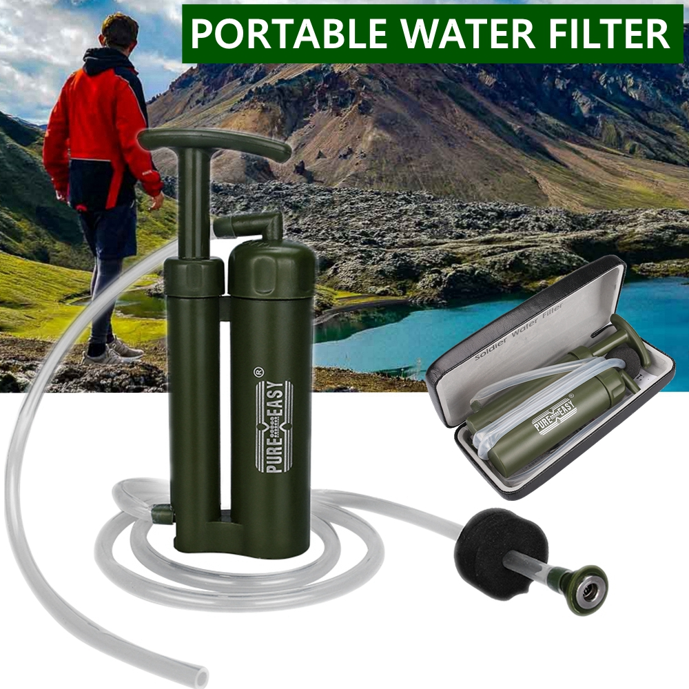 Pure Easy Portable 2000L Water Filter Kit With Retail Box Outdoor Camping Hiking Emergency Survival Gear Straw Purifier Cleaner