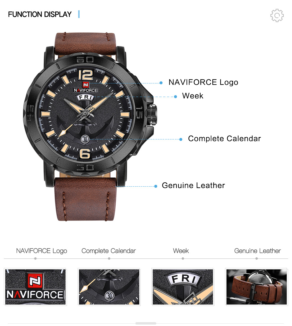 Hb8db4a7b6e9a47e8a43e8d6a5d0ec04bJ Top Luxury Brand NAVIFORCE Mens Sport Watches Casual Leather Strap Waterproof Military Quartz WristWatch Clock Male Reloj Hombre