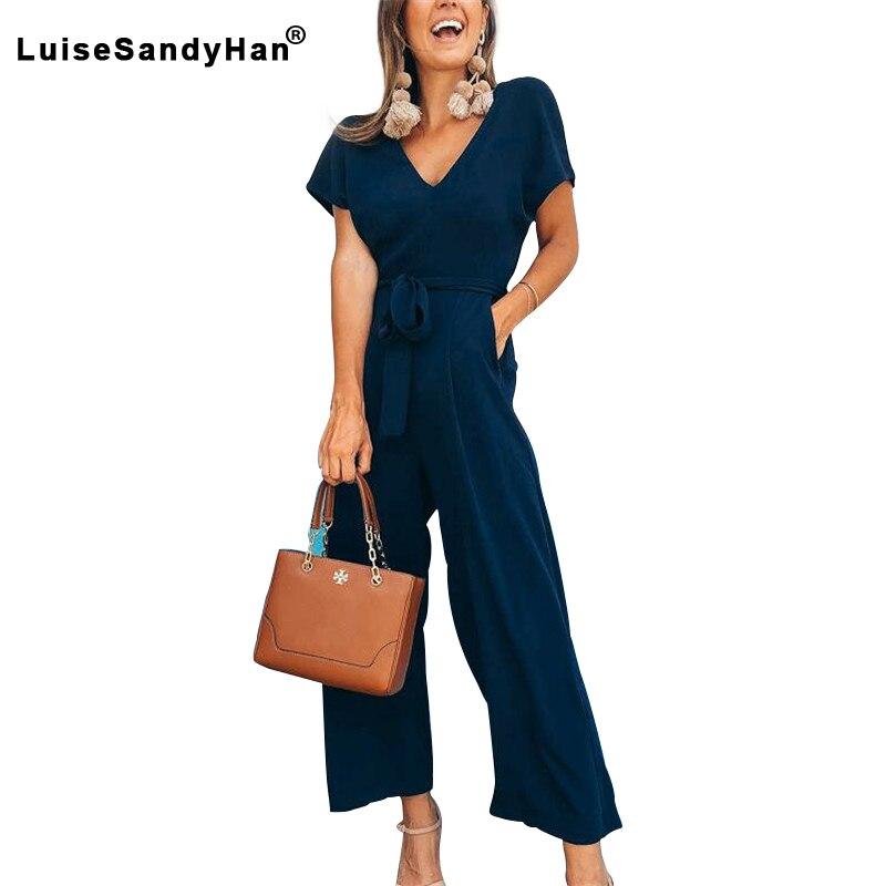 2020 Women Summer Short-sleeved V-neck Jumpsuit Female Temperament Casual Solid Clothing