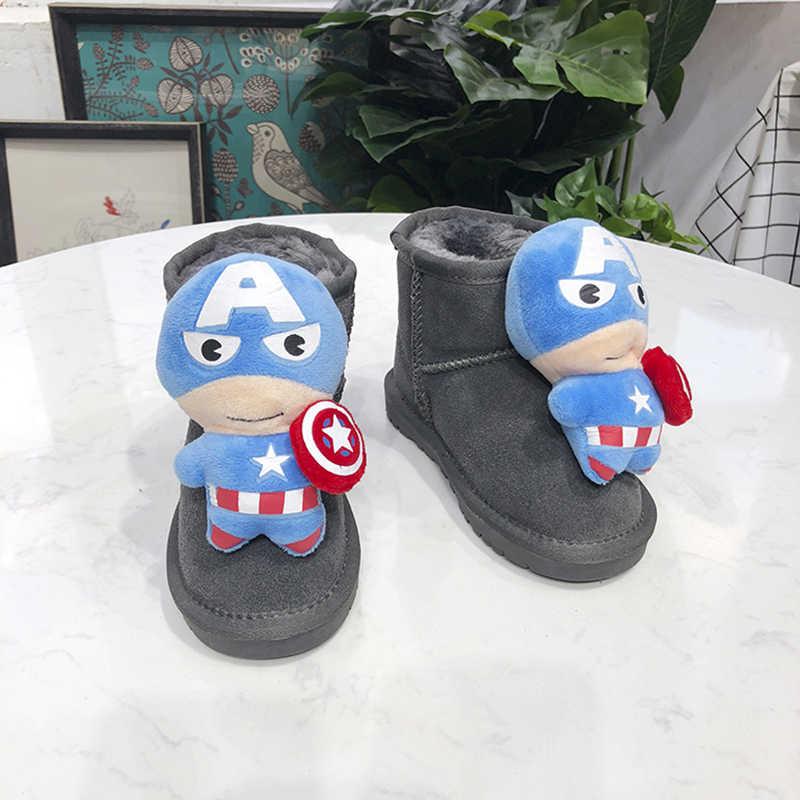 Dolakids nieuwe winter kinderen schoenen warm houden jongens cartoon schoenen met zachte en dikke katoenen laarzen en lederen enkel laarzen