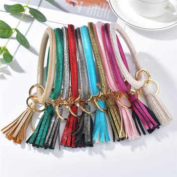 Bright PU Leather Wristlet Keychain Tassel Pendant Keyring For Women Girls Car Key Chain Wrist Strap Accessories Gifts