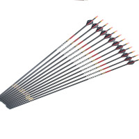 12pcs Archery Carbon arrows 340 spine ID6.2mm arrow nock insert replaceable arrowhead 3K weave for compound bow