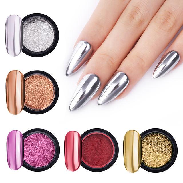 1Box Nail Mirror Glitter Powder Metallic Colorful Dust Metal Effect Nail Glitter Gold Nail Art UV Gel Polish Chrome Flakes Dust