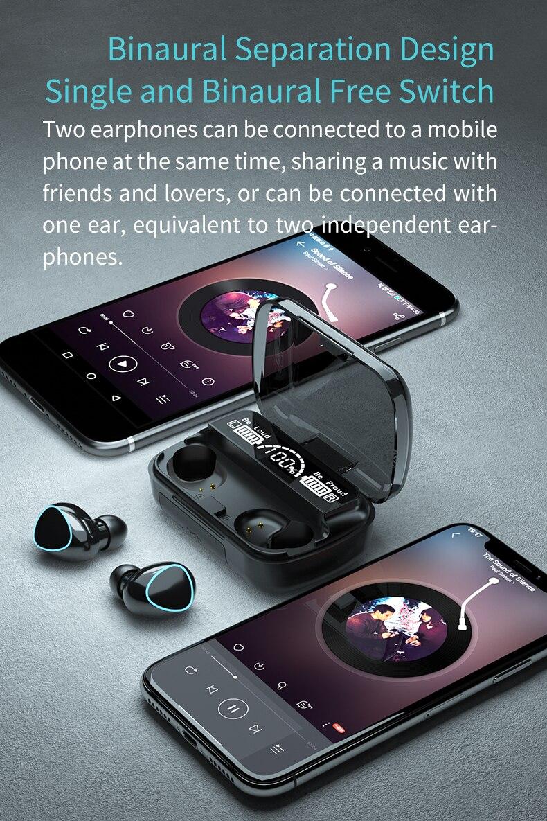Tws bluetooth fones de ouvido com controle