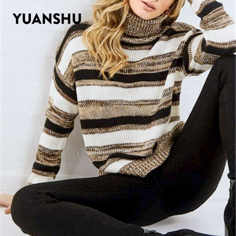 YUANSHU Casual Stripe Women Sweater 2019 Autumn Winter Turtle Sweaters Female Warm Knitted Pullover Jumper Fashion Knitwear