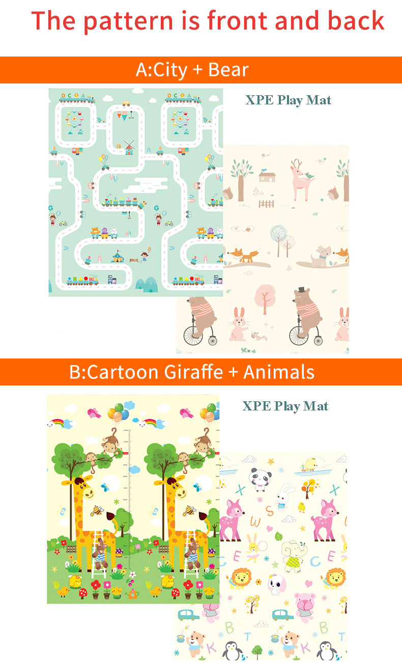 Hb8db9976e33b4e90823e45d95157cde9Z 180X200CM Baby Mat 1CM Thickness Cartoon XPE Kid Play Mat Foldable Anti-skid Carpet Children Game Mat