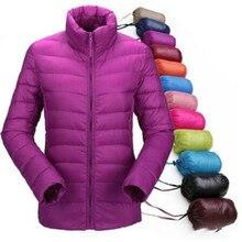 ผู้หญิงฤดูหนาวแจ็คเก็ตUltra Light Down % 95 เป็ดสีขาวลงแจ็คเก็ตแจ็คเก็ตเสื้อแขนยาวWarm Coat ParkaหญิงSolidแบบพกพาOutwear
