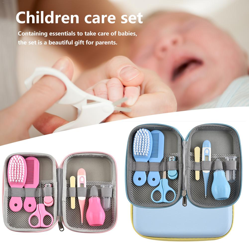 8Pcs/Set Baby Health Care Kit Portable Newborn Baby Grooming Kit Nail Clipper Scissors Hair Brush Comb Safety Care Set Hot Sale