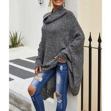 Осенний и зимний свитер-плащ серый пуловер с высоким воротником свитер длинный параграф шаль летучая мышь рубашка плащ вязаная куртка A