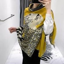 Di lusso di marca di inverno della sciarpa del leopardo delle donne Morbido Pashminas scialli sciarpe Sjaal musulmano hijab animale stampa leopardo Fazzoletto Da Collo del capo