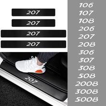 4 шт. защитные наклейки на пороги автомобиля, наклейки из углеродного волокна для отделки Peugeot 206 207 208 306 307 308 508 106 107 108 2008 3008 5008