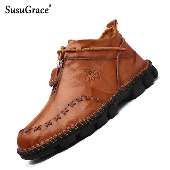 SusuGrace Men Boots Split Leather Quality Male ankle boots Lace-Up vintage Footwear work boots Casual Men Shoes Plus Sizes 38-48 фото