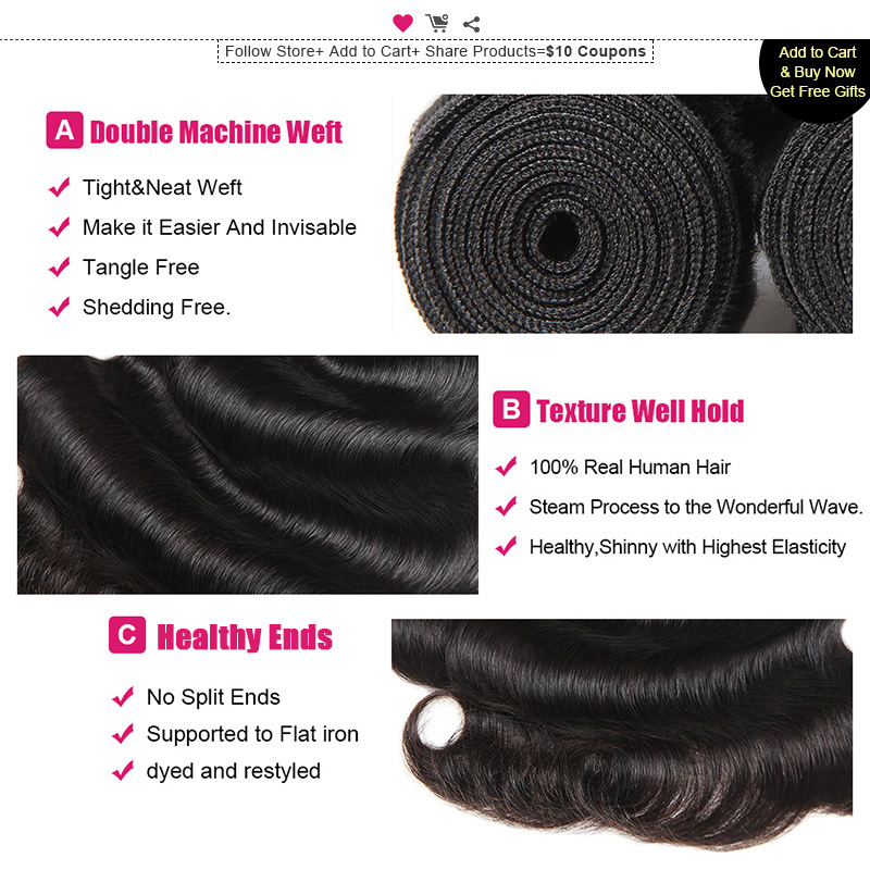 Ishow Indian Hair Body Wave Human Hair Bundles 1 3/4 Piece Non-Remy Hair 8-28inch Natural Color Weave Bundles Hair Extensions