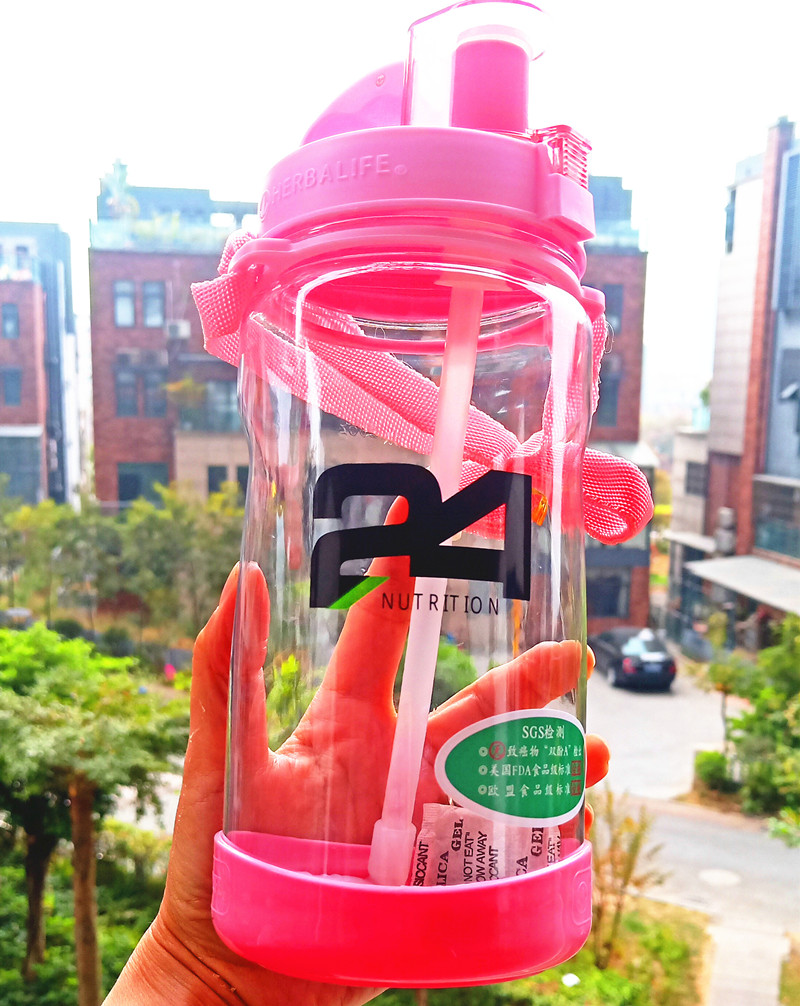 High Quality Eco Friendly 1000ml Pink Black Herbalife Nutrition Plastic Sports Straw Water Bottle Hiking Climbing Space bottle|Water Bottles|   - AliExpress