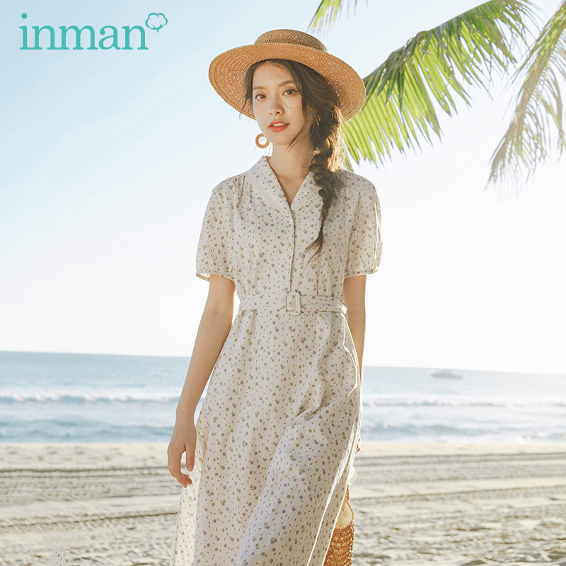 INMAN 2020 Summer New Arrival Pure Cotton Shivering Button Nipped Waist Elagant Short Sleeve Dress