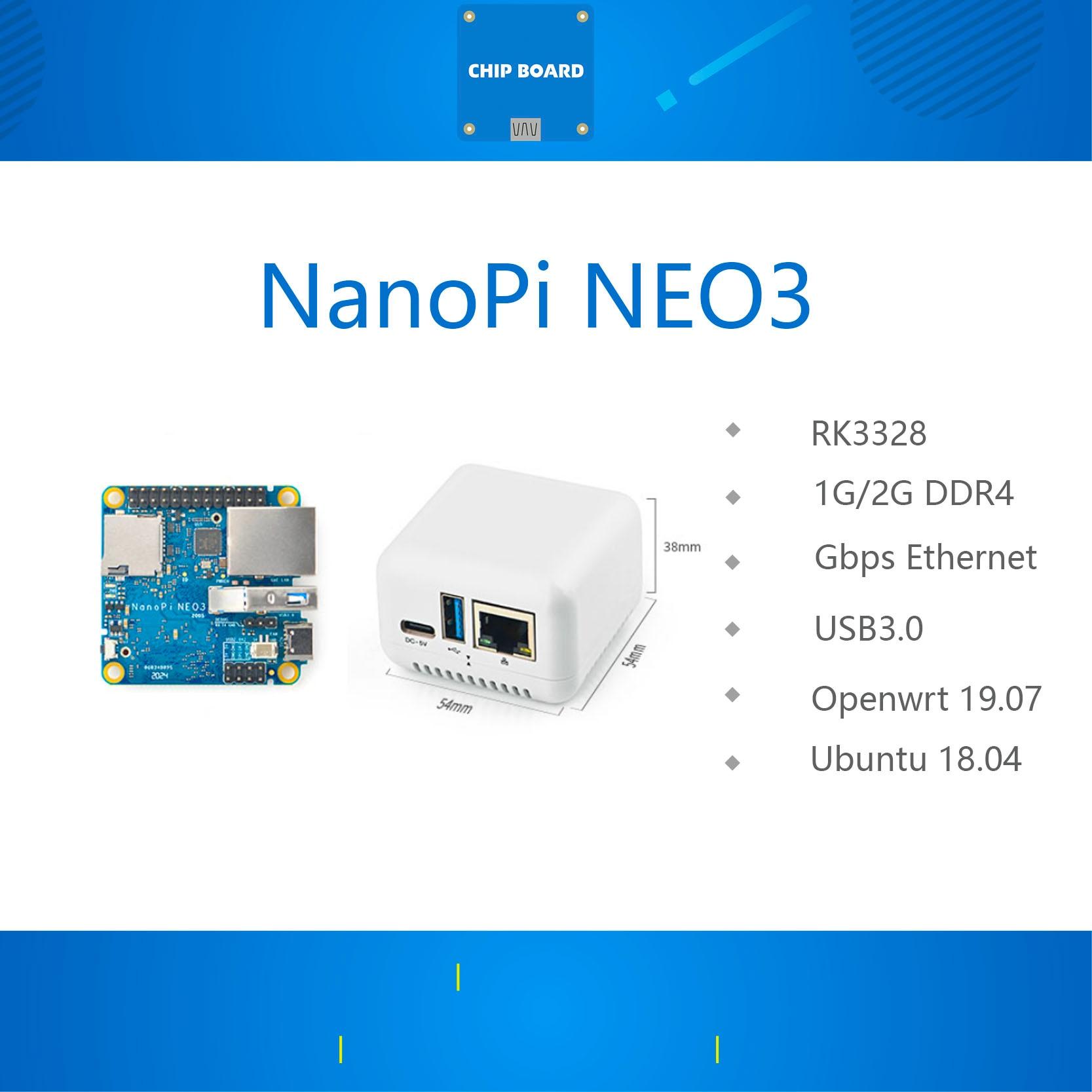 Мини макетная плата NanoPi NEO3 RK3328, гигабитный порт Ethernet, память 1 ГБ/2 ГБ, OpenWrt/LEDE, Прямая поставка