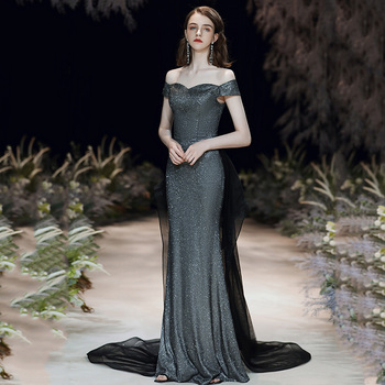 Elegant Slim Bling Gray Evening Party Gown Cheongsam Sexy Off Shoulder Lady Robe De Soiree Full Length Soft Formal Party Dress