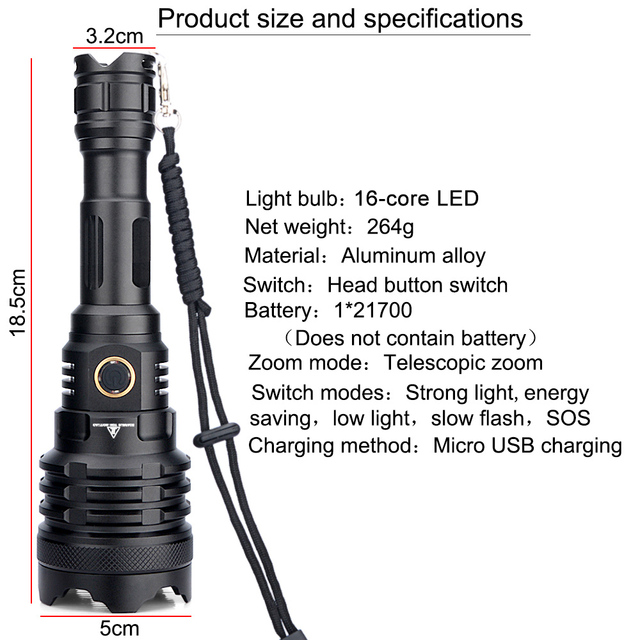 XHP160 Flashlight Powerful LED Zoom Torch Rechargeable Lamp Brightest Lantern Tactical Hunting Camping zoom camp Flash light 3