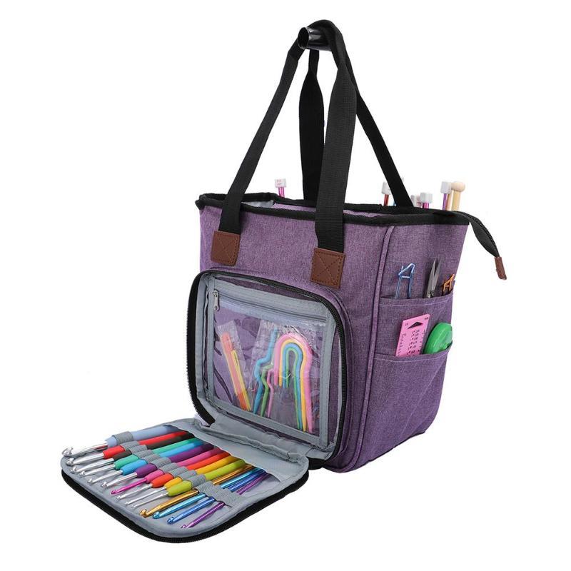 Portable Knitting Bag Wool Yarn Crochet Hooks Storage Bags Sewing Needles Organizer Sewing Knitting Storage Bag Pouch