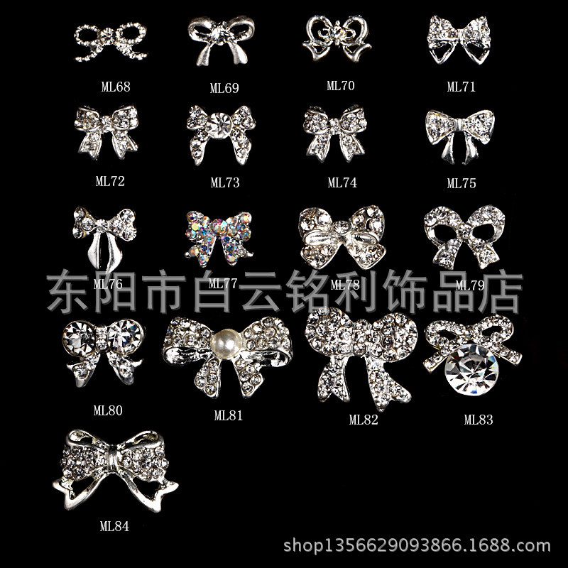 Nail Ornament Nail Sticker New Style Alloy Bow Japanese-style DIY Gemstone Nail Rhinestone