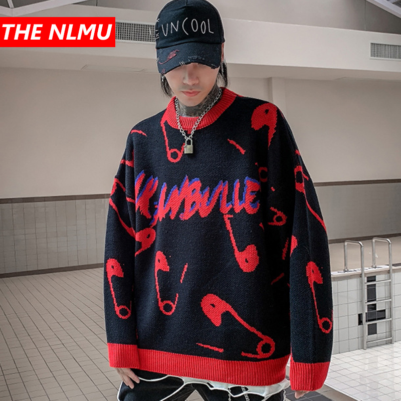 Harajuku Vintage Knitted Sweaters Men Hip Hop Loose Pullover Sweater Streetwear Male Female Winter 2019 Clothing Coat WG595