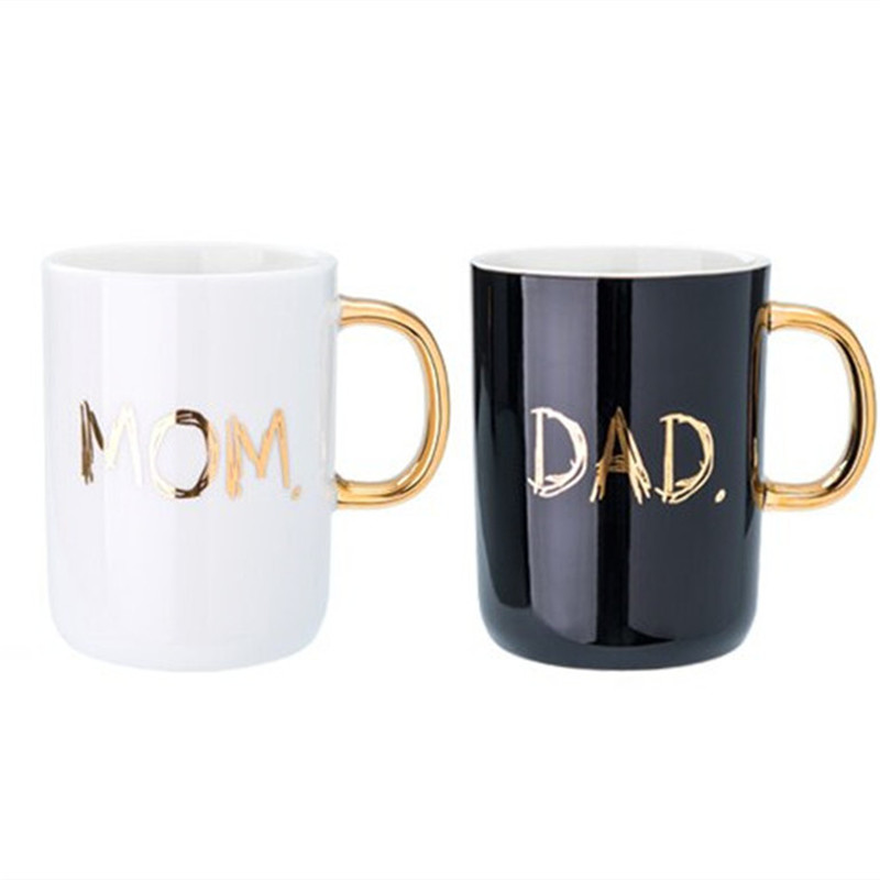 400ml MOM DAD Water Cup With Lid Spoon Milk Coffee Ceramic Mug Home Office Collection Cups Mother Father Day Festival Gifts Box