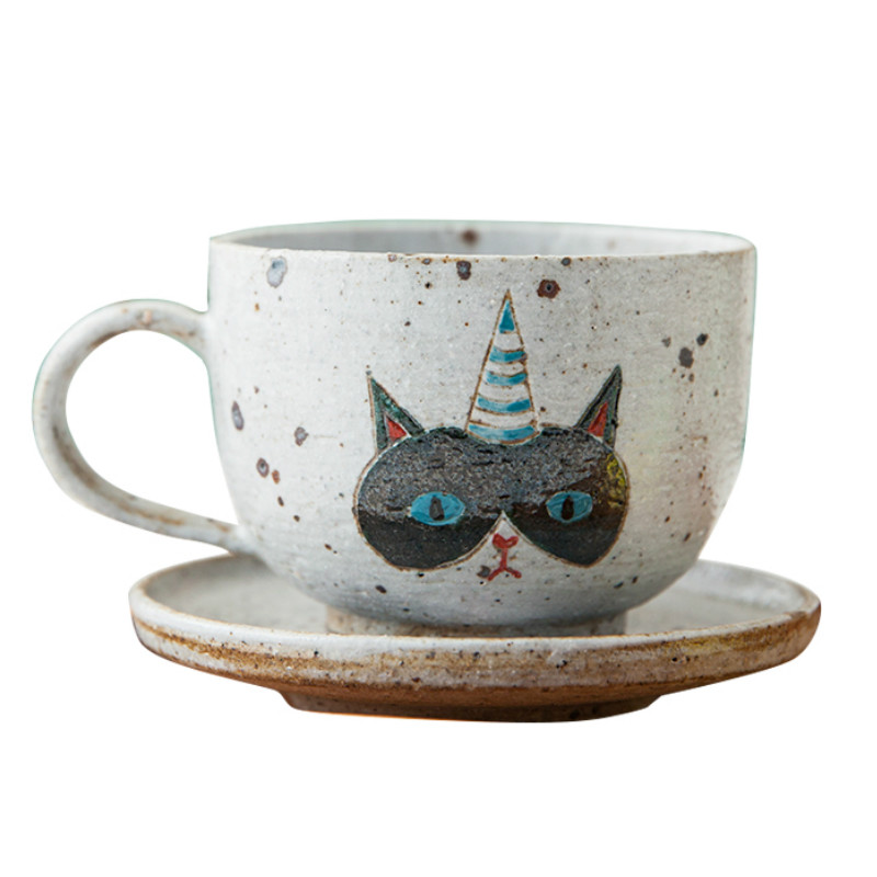 Creative Hand Painted Ceramic Cat Coffee Cup Japanese Pottery Espresso Cups Porcelain Cup Vintage Tea Cups And Saucers II50BYD