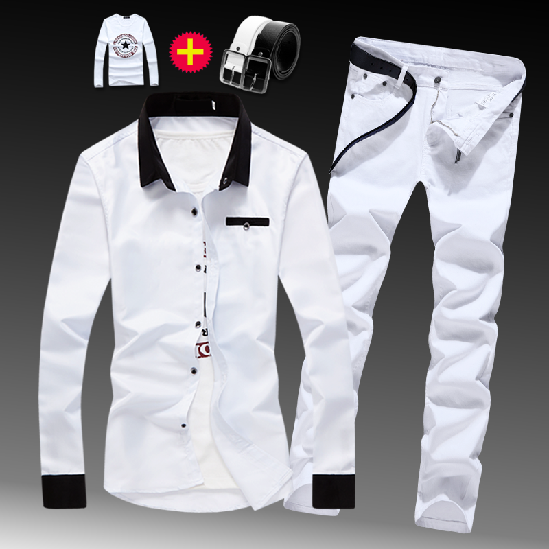 New Mens Cotton Blend Shirt Long Sleeve Shirts Long Trousers Jeans Pants Slim Fit 2pcs Set With Long Sleeve Shirts M344