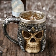 Retro Hars Roestvrij Staal Bier Mok Skull Knight Halloween Koffie Cup Creatieve Viking Thee Mok Pub Bar Decoratie(China)