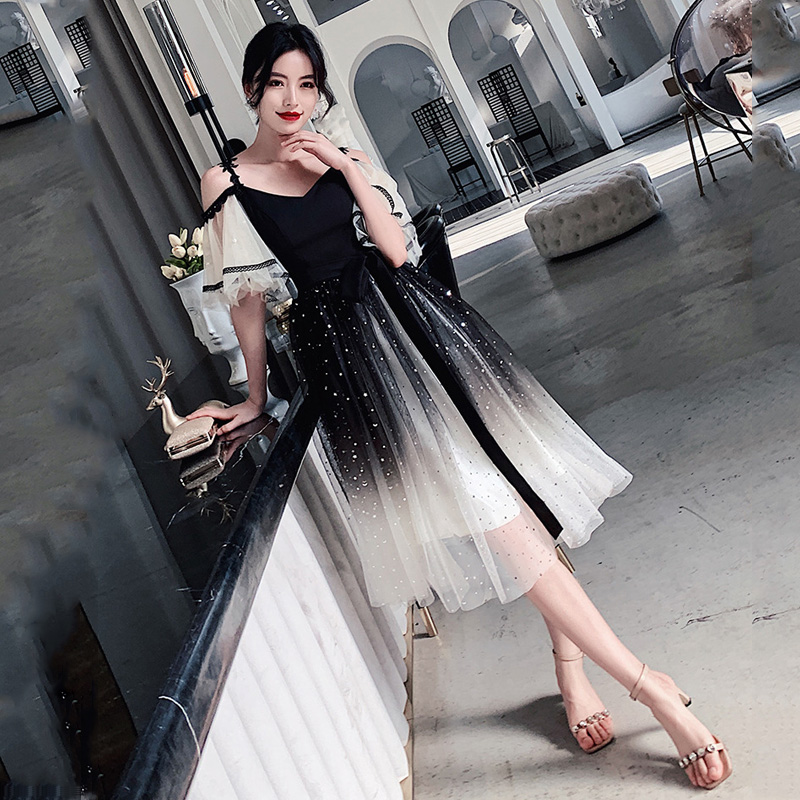 Black Gradient Evening Dresses R262 Sexy Boat Neck Robe De Soiree Spaghetti Strap Women Party Gowns A-Line Sequin Formal Vestido