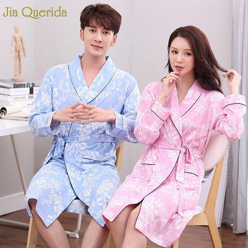 Men And Women Matching Floral Printing 100% Cotton Bath Robe Long Sleeve Nightgown Couple Lingerie Matching Bathrobe Kimono Robe