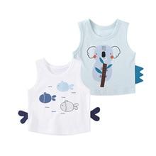 Shirts Tops Toddler Baby Cotton Sleeveless Summer Graphic Cartoon Vest Pureborn 2-Pack