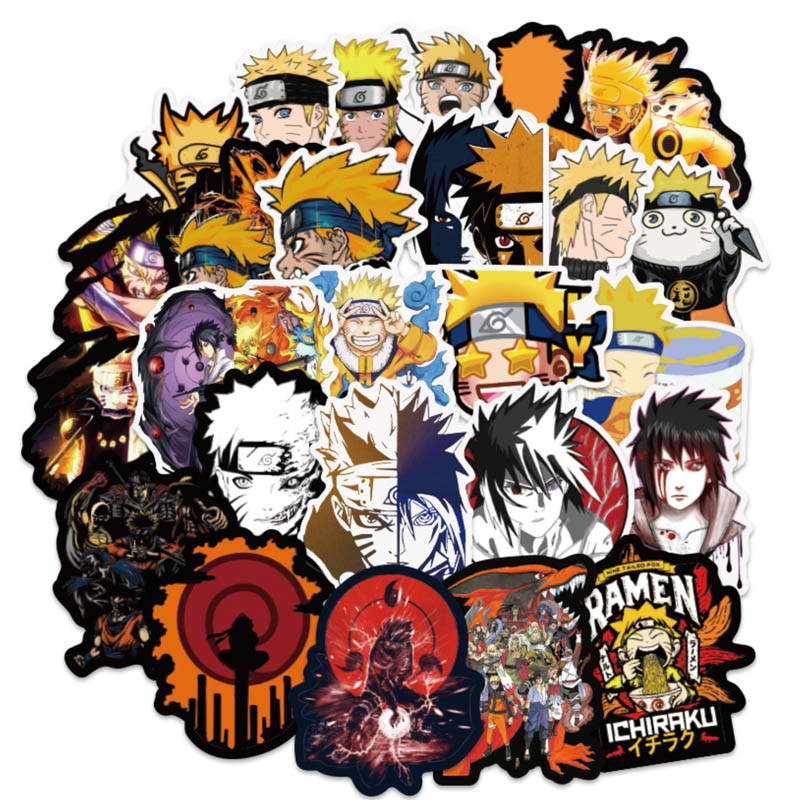 100 PCS/Set Waterproof Japan Anime Naruto Stickers For Laptop Car Trunk Skateboard Guitar Fridge Backpack Decal Toy Sticker