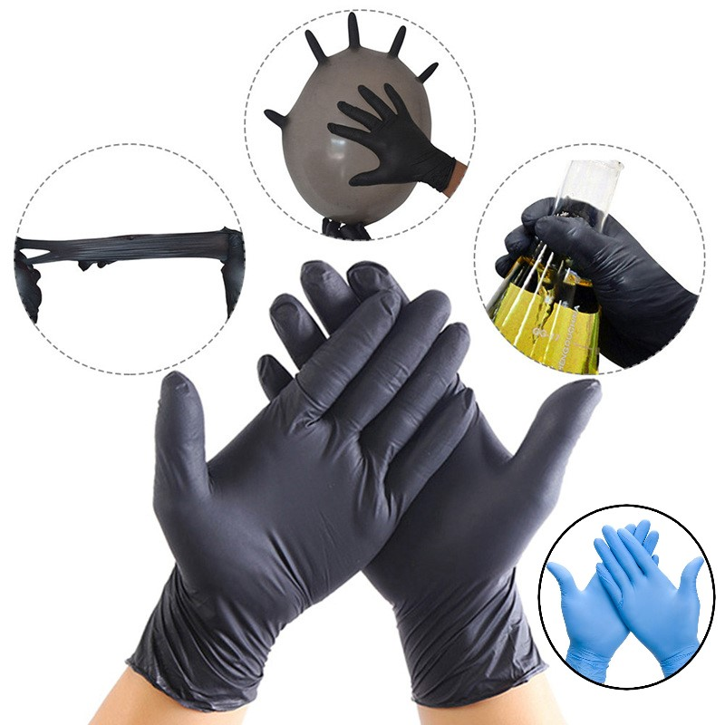 100pcs Dispossable Gloves Finger Cot Nitrile Gloves Thin Flexible Durable Universal Household Latex Food Nitrile Latex Gloves