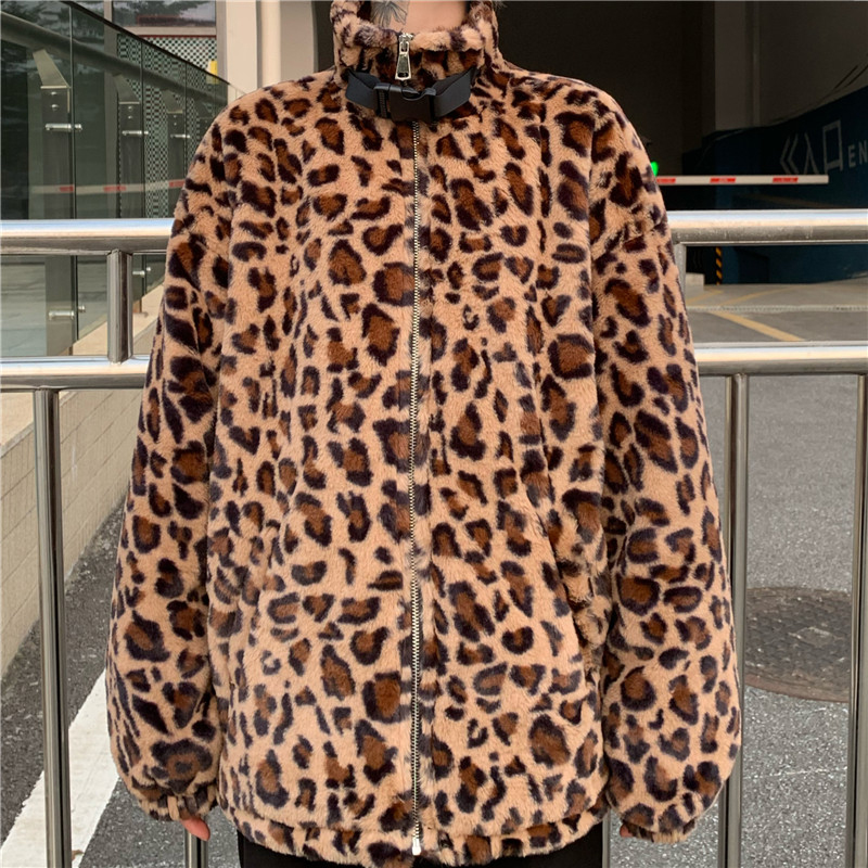 New Fall Women Vintage Leopard Jacket Long Sleeve Stand Collar Zipper Casual Winter Jackets Female Plus Size Outerwear Chaqueta