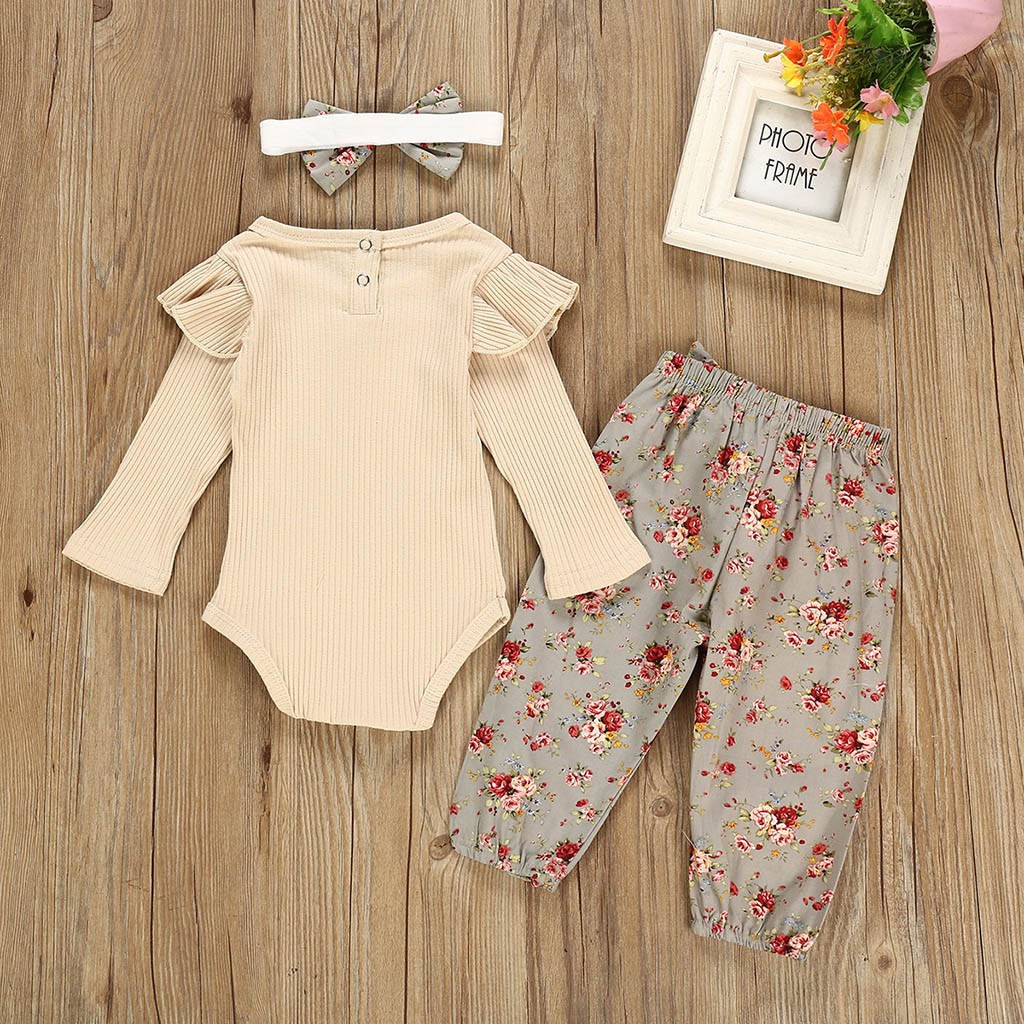 2PCS Baby Girls Floral Printed Ruffled Romper Headband Sets Toddler Warm Grows