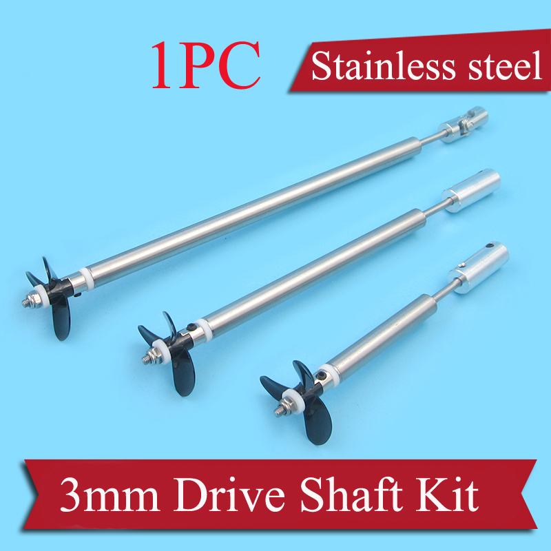 1PC RC Boat Parts Stainless Steel <font><b>3mm</b></font> Drive Shaft Kit Include Shaft Sleeve+3-blades Propeller+Universal Joint+Paddle Fork+<font><b>M3</b></font> Nut image