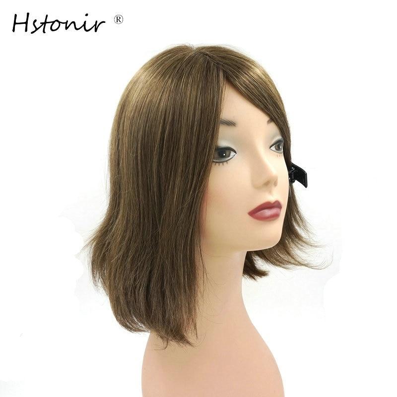 Hstonir Kosher Jewish Wig European Remy Hair Silk Top Wig Bob Sheitel Straight Ash Blond Customized Order