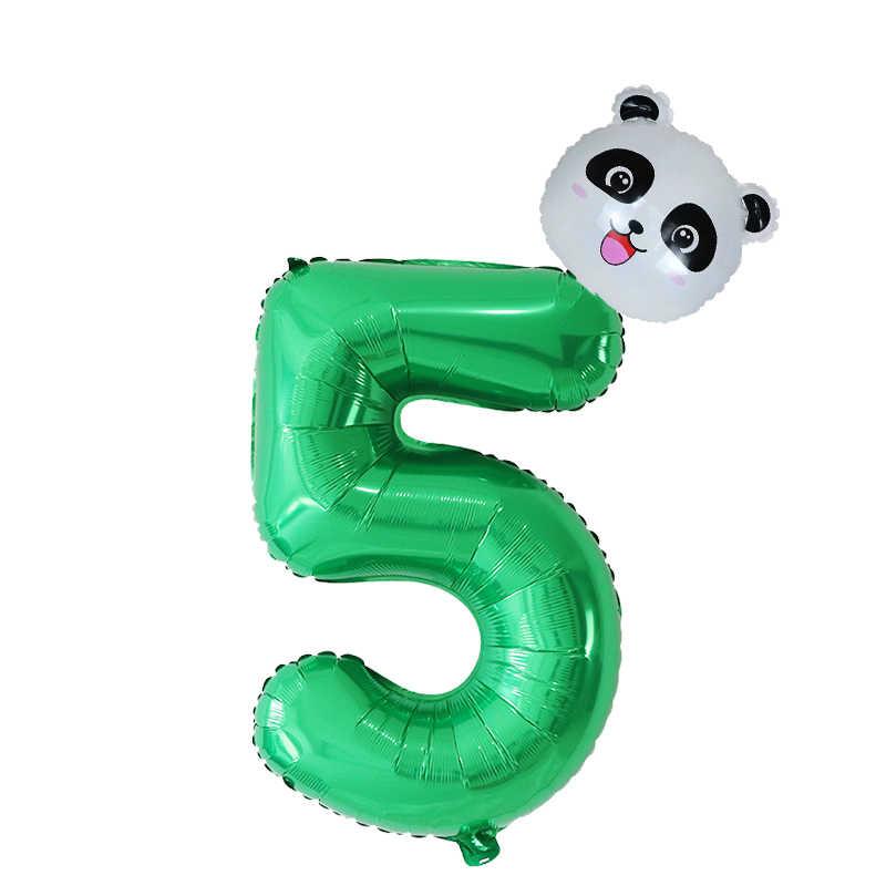 30 ''Giant Nummer Cartoon Panda Folie Ballonnen Dier Helium Ballon Jungle Thema Partij Ballon Verjaardagsfeestje Decor Kinderen Globos